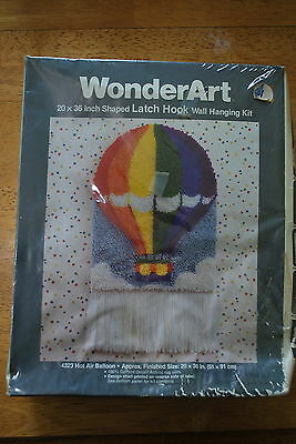 "WonderArt Latch Hook Kit Hot Air Balloon  20X36"" - NIP!!!Super Nice"