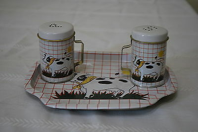 Metal Shakers with Cow Design Salt & Pepper Shakers w/tray - NICE!!!