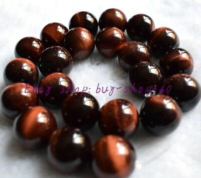 """Natural African Roar 10mm Round Red Tiger's Eye Gemstone Loose Beads 15"""""""