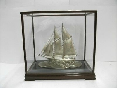 The sailboat of Sterling Silver of Japan. 2masts. #250g/8.80. Japanese antique