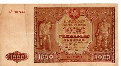 Poland 1000 Zlotych 1946 Banknote Miner and Industrial Silesia