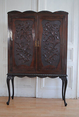 Aust Antique Chippendale Style Cabinet - Beautiful Carved Doors Cabriole Legs