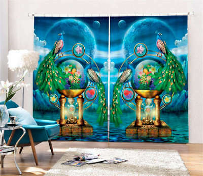 Peacock On The Sea 3D Blockout Photo Curtain Print Curtains Fabric Kids Window