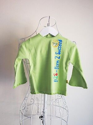 """""""Born 2 Succeed"""" Size 000 Long Sleeved Girls Lime Green Frill Top BNWT! Bargain"""