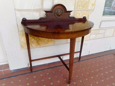 c.1900's Antique Solid Mahogany Tapered Spear Legged Demi Lune Table Hand Carved
