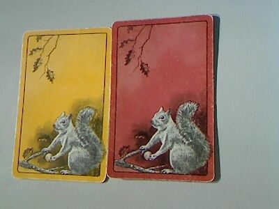 2 Single Swap/Playing Cards - Pair Animals Squirrels with Nuts^^