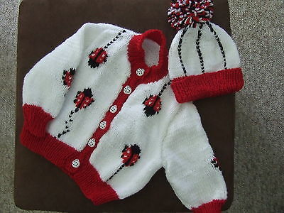 T 18 Hand Knitted  Lady Bug  Cardigan And Hat  Order Only