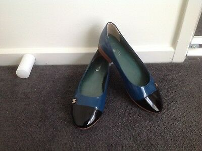 Chanel Woman's Flats Turquoise/Black Size 37