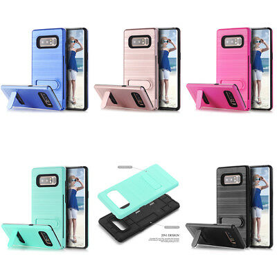 10pc/lot Brush Armor Kickstand Shockproof Hybrid Case for Samsung Galaxy Note8
