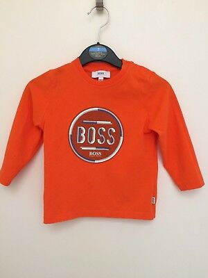 Baby Boys Hugo Boss Orange Long Sleeved Tshirt Top Age 18 Months