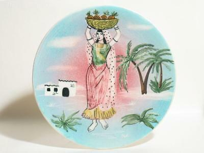 20cm Vande Plate with Hand-Painted Mexican Lady & Hacienda, Australian Pottery