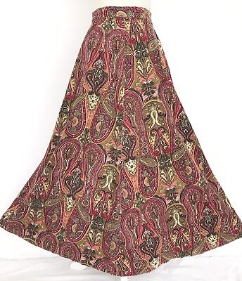 Vintage 1970s Pink Red Green Paisley Floral Print A-line Cord Maxi Skirt S