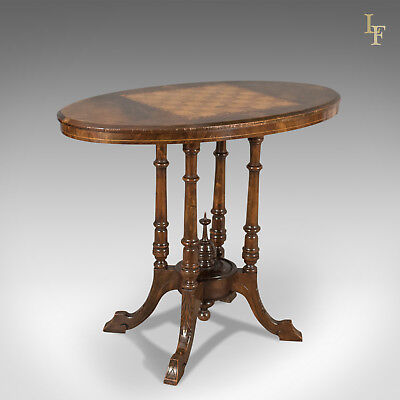 Victorian Antique Side Table with Inlaid Chess Board, English, Walnut c.1880
