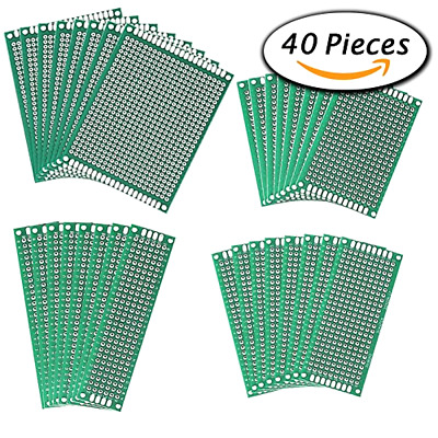 Paxcoo 40 Pcs Double Sided PCB Board Prototype Kit for electronic DIY projects,
