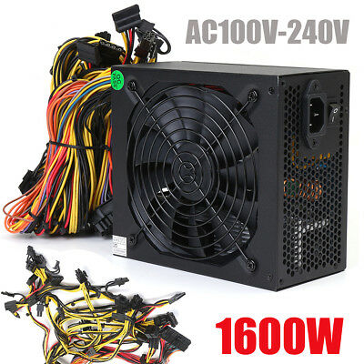 Crypto Coin 1600W Power Supply For 6 GPU Eth Rig Ethereum Mining Miner AntMiner