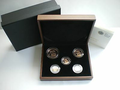 2009 Royal Mint Uk 5 Five Coin Gold Proof Sovereign Set