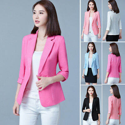 Uk Ladies Blazer One Button Fitted Coat Womens Suit Jacket Casual Office Top