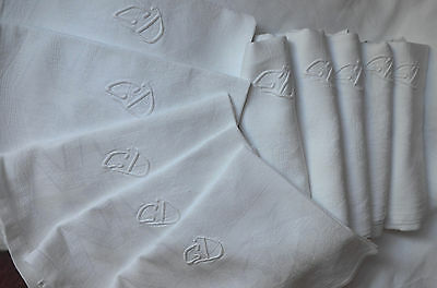 Antique damask table cloth, 11 napkins, GD monograms, drawn thread work hems