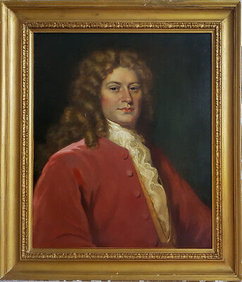 Large 19th Century Portrait of 18th Century Gentleman Old Antique Oil Painting