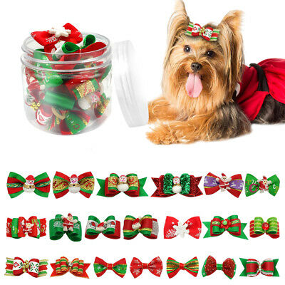 20/100pcs Christmas Dog Hair Bows Pet Cat Puppy Grooming Accessories Xmas Gifts