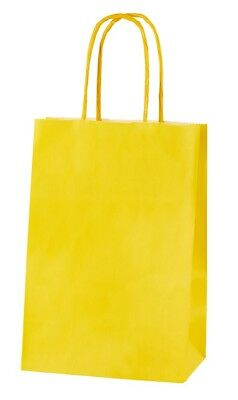 YELLOW EXTRA SMALL PAPER PARTY BAGS WITH HANDLES GIFT BAGS  LOOT 14x21x8cm