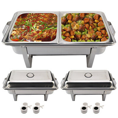 Pack of 2 Stainless Steel Chafing Dish Sets Dish Bowl With Lid Pans Fuel Spoons