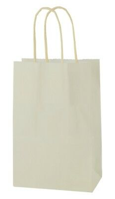 CREAM/IVORY EXTRA SMALL PAPER PARTY BAGS WITH HANDLES GIFT BAGS  LOOT 14x21x8cm