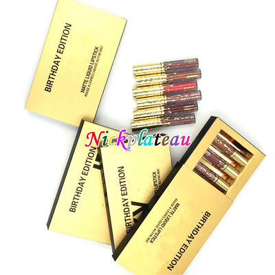 6Pcs Beauty Gold Mini Sexy Makeup Matte Liquid Lipstick Waterproof Lip Gloss kit