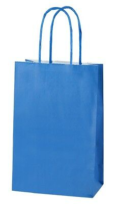 BLUE EXTRA SMALL PAPER PARTY BAGS WITH HANDLES GIFT BAGS  LOOT 14x21x8cm