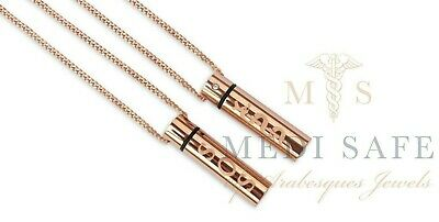 LADIES 9ct ROSE GOLD PLATED STAINLESS STEEL SOS PENDANT/CHAIN EMERGENCY/TALISMAN
