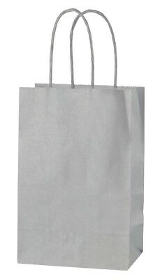 SILVER EXTRA SMALL PAPER PARTY BAGS WITH HANDLES GIFT BAGS  LOOT 14x21x8cm
