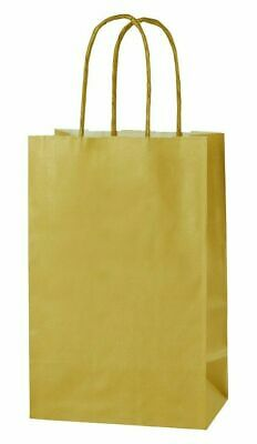 GOLD EXTRA SMALL PAPER PARTY BAGS WITH HANDLES GIFT BAGS  LOOT 14x21x8cm