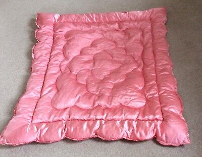 Vintage Double Feather Eiderdown/Quilt Pink Satin