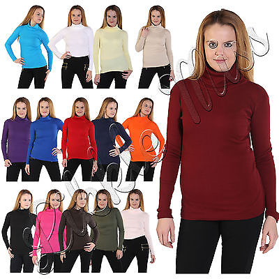 Womens Cotton Ribbed Polo High Roll Turtle Neck Ladies Long Sleeve Stretch Top