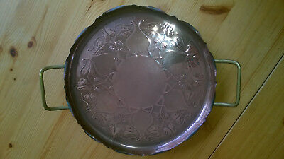 J S & S.B Made in England solid copper handled tray c1910's Art Nouveau