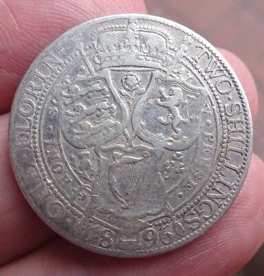 1896 Queen Victoria Sterling Silver Two Shillings - 1896 Florin