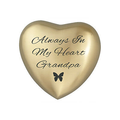 Always In My Heart Grandpa Golden Butterfly Heart Urn Keepsake for Ash Cremation