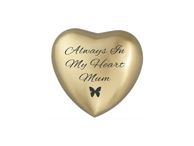 Always In My Heart Mum Golden Butterfly Heart Urn Keepsake for Ashes Cremation
