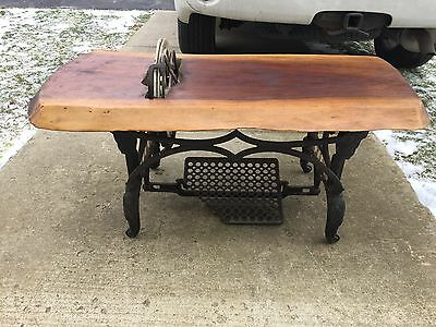 Antique White Cast Iron Treadle Sewing Machine Industrial Base Coffee End Table