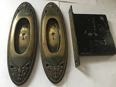 Antique Arts Craft Deco Victorian Cast Brass Pocket Door Plates Pulls Lock