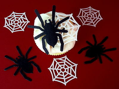 24 Pre-Cut Large Spiders & Webs Halloween Cupcake Edible Rice Wafer Paper Topper