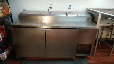 True 67 Inch Pizza Prep Table Cooler Refrigerated Sandwich Salad 2 Door Tested