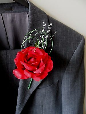 6 Red  Rose Buttonholes Wedding Flowers Artificial