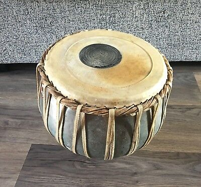 Vintage Bina Indian Drum- Collectable- Metal/ Wicker- Playable- Rare- Read Desc.