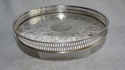 Quality Vintage Silver Plated Round Alpha Plate  Viners  Decorated Serving Tray