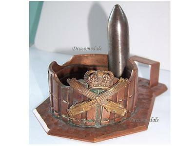 Britain WW1 Trench Art Machine Gun Corps ashtray badge Royal Army WWI 1914 1918
