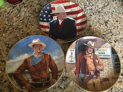 Lot of 3 John Wayne Limited Edition Mint Collector Plates with Stands EUC
