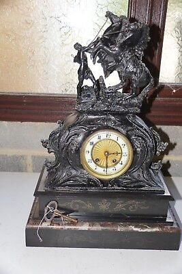 Antique 8 Day French Marly Horses Mantel Clock - Slate Marble Figural Clock