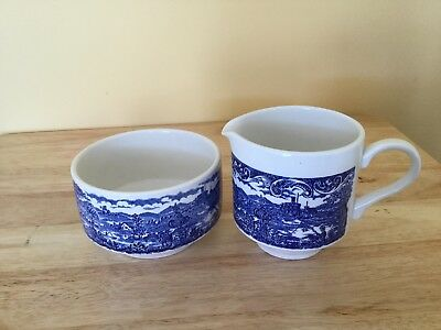 Creamer and sugar bowl,blue and white decorated by Broardhurst England,Nice Set