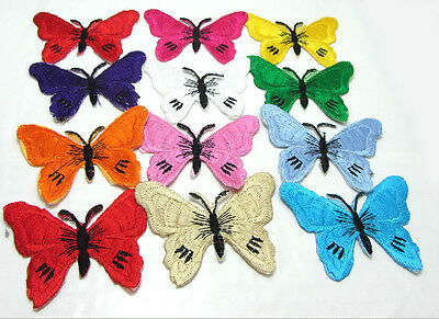 12pcs Embroidered Cloth Iron Patch Sew Motif Applique  butterfly graphic 5x5.5cm